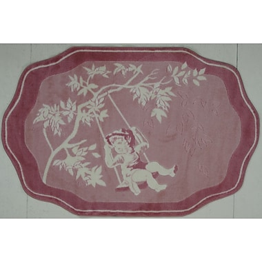 Fun Rugs Supreme Pink Toile Red/White Area Rug; 3'3'' x 4'10''