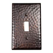 The Copper Factory Hammered Copper Single Switch Plate; Antique Copper