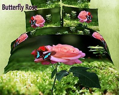 Dolce Mela Dolce Mela Butterfly Rose 6 Piece Duvet Cover Set; Queen