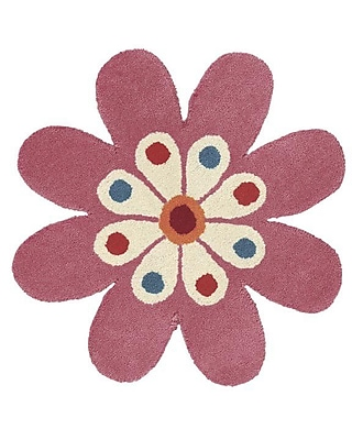 Dynamic Rugs Fantasia Hand-Tufted Wool Light Pink Flower Area Rug; Novelty 2' x 2'