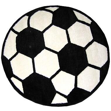 Fun Rugs Fun Shape High Pile Soccerball Sports Area Rug; Round 3'3''