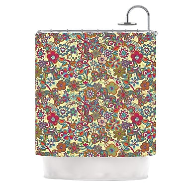 KESS InHouse My Butterflies and Flowers Shower Curtain; Yellow