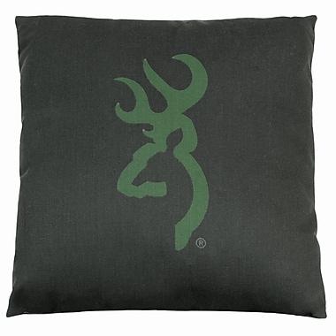 Browning Buckmark Camo Logo Throw Pillow; Dark Green