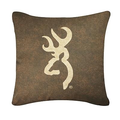 Browning Buckmark Logo Throw Pillow; Brown