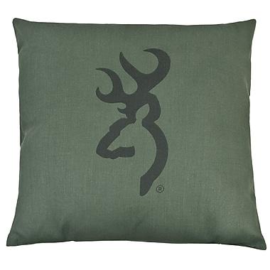 Browning Buckmark Camo Logo Throw Pillow; Light Green