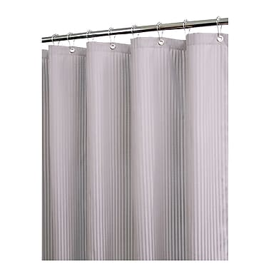 Watershed Solid Satin Stripe Shower Curtain; Antique Silver