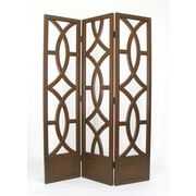 Wayborn 76'' x 54'' Geometric Emblem 3 Panel Room Divider; Brown