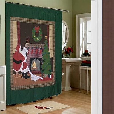 Patch Magic Santa by the Fireside Cotton Shower Curtain