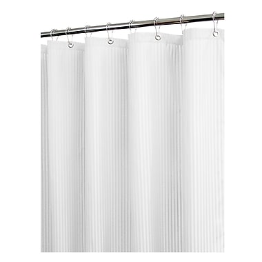 Watershed Solid Satin Stripe Shower Curtain; White
