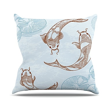 KESS InHouse Koi Throw Pillow; 18'' H x 18'' W