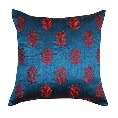 Divine Designs Henna Silk Throw Pillow; Blue