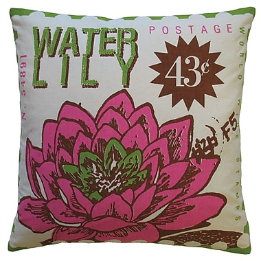 Koko Company Postage Waterlily Print Cotton Throw Pillow