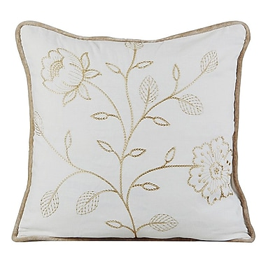 Gracious Living Bloom Cotton Throw Pillow; Ivory
