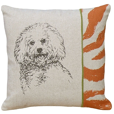 123 Creations Dog Bichon Screen Print Linen Throw Pillow