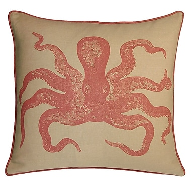 Kevin O'Brien Studio Nauticals Cuttlefish Throw Pillow; Coral Sand