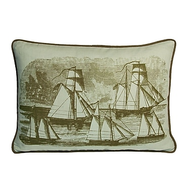 Kevin O'Brien Studio Nauticals Sailboats Lumbar Pillow; Seaglass