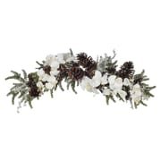 House of Silk Flowers Artificial Iced Phalaenopsis Orchid / Pine Swag