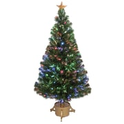 Jolly Workshop Fiber Optic 4' Green Artificial Christmas Tree w/ LED Muticolor Light w/ Stand