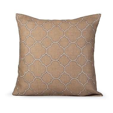 Gracious Living Intricate Burlap Throw Pillow; Natural