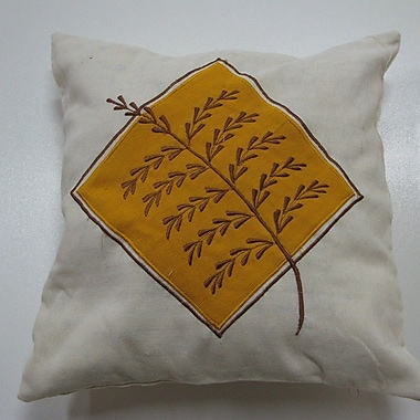 New Spec Embroidery Grain Cotton Throw Pillow; Yellow