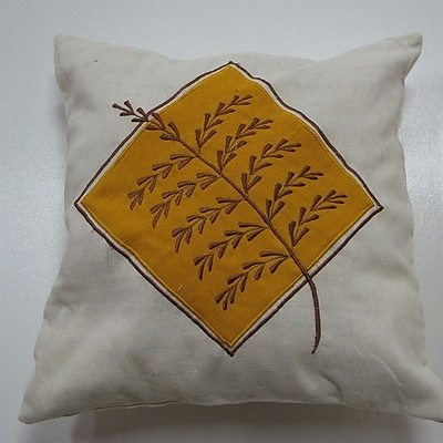 New Spec Embroidery Grain Cotton Throw Pillow; Yellow