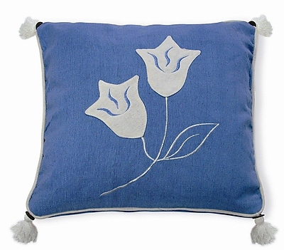 New Spec Embroidery Lily Cotton Throw Pillow; Blue