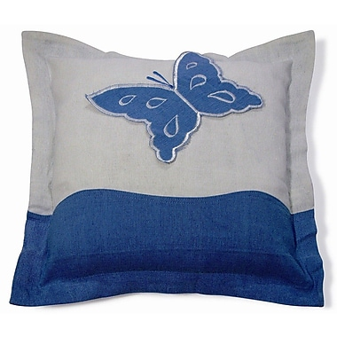 New Spec Embroidery Butterfly Cotton Throw Pillow; Blue