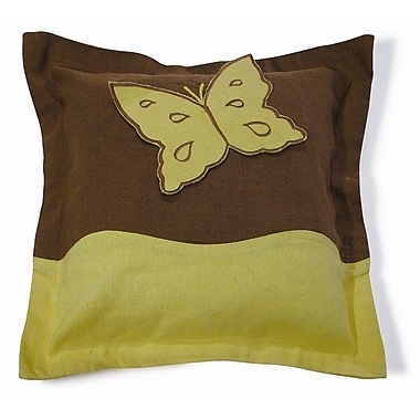 New Spec Embroidery Butterfly Cotton Throw Pillow; Yellow