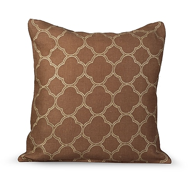 Gracious Living Intricate Burlap Throw Pillow; Tobacco Brown