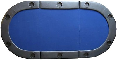 JP Commerce Padded Texas Hold'em Folding Poker Table Top w/ Cup Holders in Blue WYF078275958412