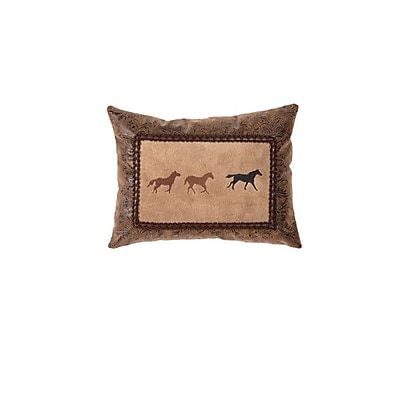 Wooded River Mustang Canyon Three Horse Embroidery Throw Pillow