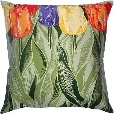 Filos Design Flower Power Tulip Throw Pillow; Sage