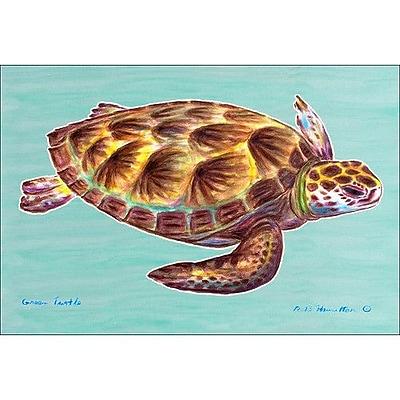 Betsy Drake Interiors Coastal Sea Turtle Doormat; Rectangle 30'' x 50''