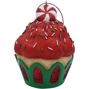 Sandicast Peppermint Top Cupcake Christmas Tree Ornament; Red