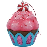 Sandicast Peppermint Top Cupcake Christmas Tree Ornament; Pink