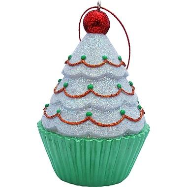 Sandicast Tree Top Cupcake Christmas Ornament; White