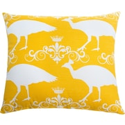 The Well Dressed Bed Peacock Accent Cotton Throw Pillow; Corn Yellow