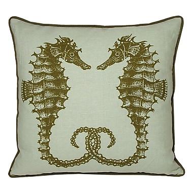 Kevin O'Brien Studio Nauticals Seahorse Throw Pillow; Seaglass