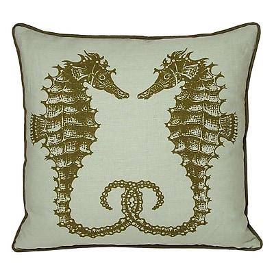 Kevin O'Brien Studio Nauticals Seahorse Pillow; Seaglass