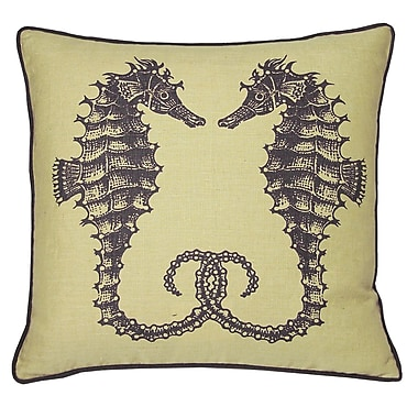 Kevin O'Brien Studio Nauticals Seahorse Throw Pillow; Aquarium