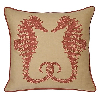 Kevin O'Brien Studio Nauticals Seahorse Throw Pillow; Coral Sand