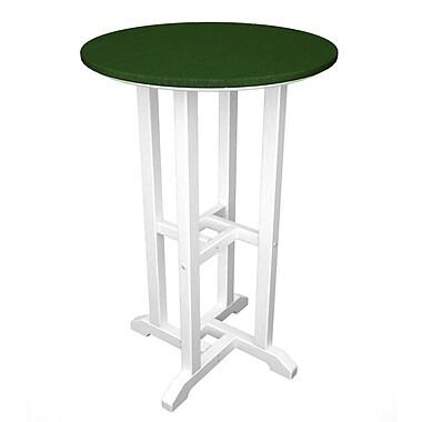 POLYWOOD Contempo Bar Table; White & Green