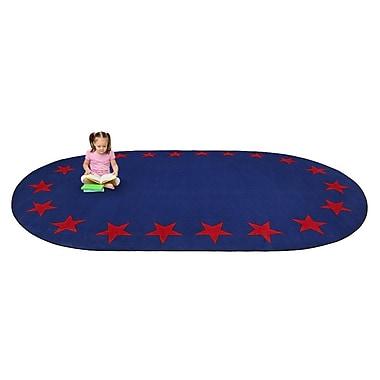 Kid Carpet Blue Star Border Classroom Area Rug; 7'6'' x 12'