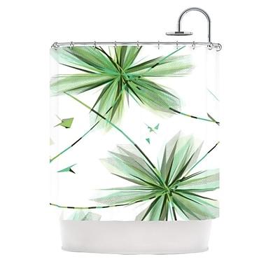 KESS InHouse Flower Shower Curtain; Teal