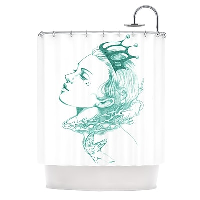 KESS InHouse Queen of The Sea Shower Curtain; Green