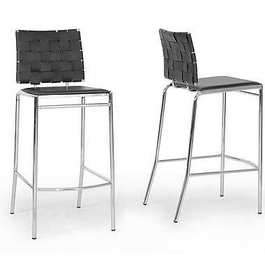 Wholesale Interiors Vittoria 29.875'' Bar Stool (Set of 2); Black