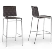 Wholesale Interiors Vittoria 29.875'' Bar Stool (Set of 2); Brown