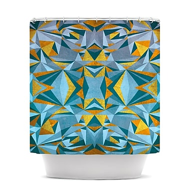 KESS InHouse Abstraction Shower Curtain; Blue and Gold