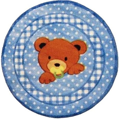 Fun Rugs Supreme Teddy Center Blue Bear Area Rug; Round 3'3''