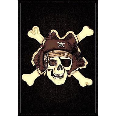 DonnieAnn Company Skinz 77 Mixed Black Skull Pirate Area Rug; 7' x 5'